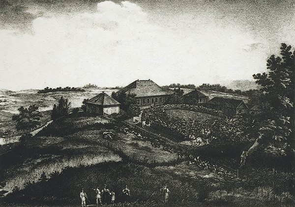 Усадьба Михайловское в1837 году. Литография П. А. Александрова порисунку И. С. Иванова