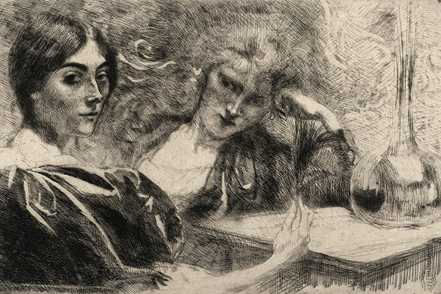рисунок двух женщин времен викторианской Англии