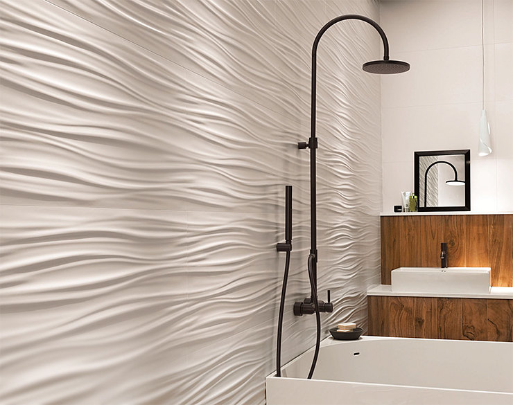 Горизонтальные волны визуально удлиняют стену. Atlas Concorde 3D Wall Design