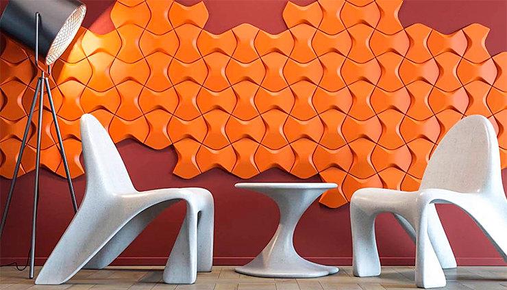 Акцентная стена: изкрупноформатной плитки ARSTYL можно собрать интересную композицию!