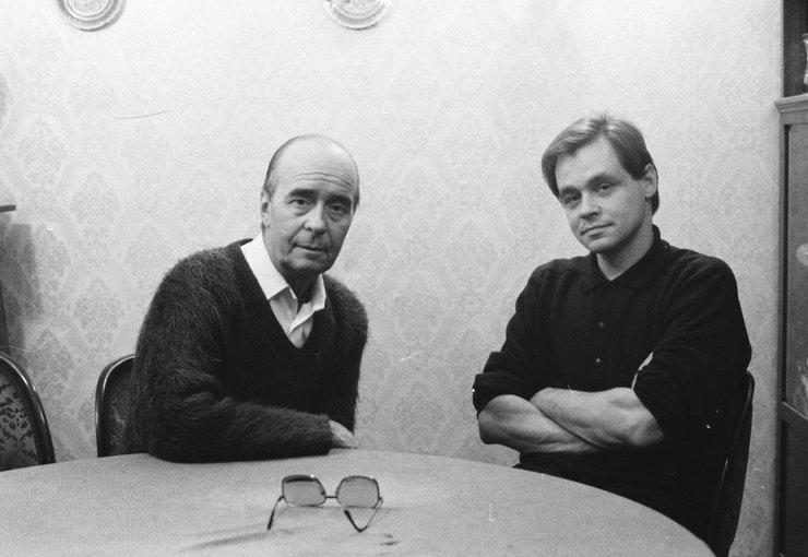 Актер Олег Борисов ссыном режиссером Юрием Борисовым.