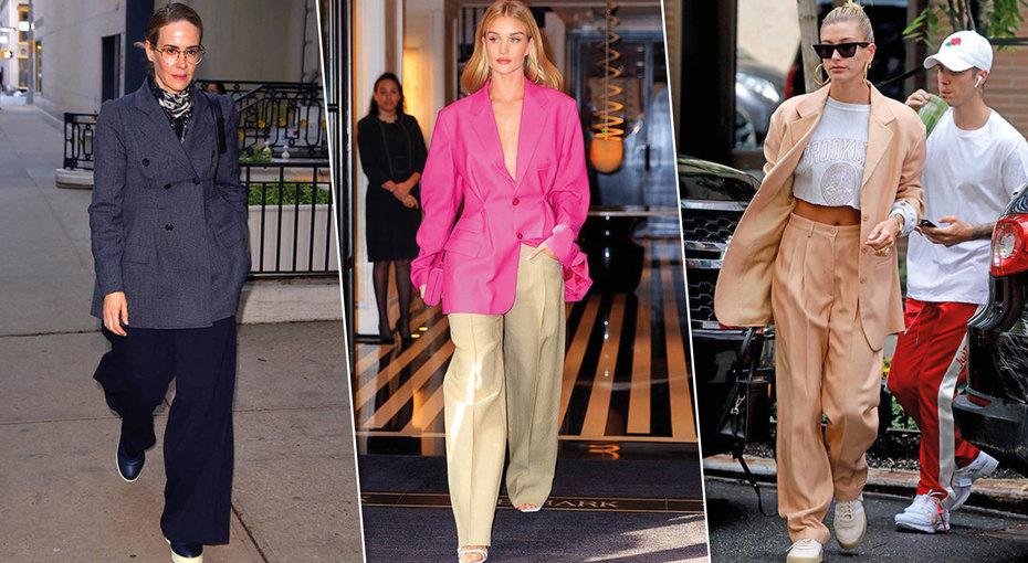 Широко шагая: стильные образы звезд сширокими брюками