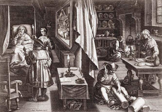 Приготовление лекарства против сифилиса из коры растения. Гравюра XVI века голландского гравера и издателя Филиппа Галле