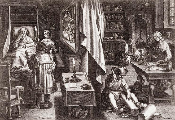 Приготовление лекарства против сифилиса изкоры растения. Гравюра XVI века голландского гравера ииздателя Филиппа Галле