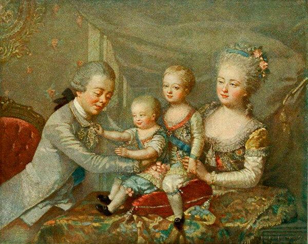 Великий князь Павел Петрович и Великая княгиня Мария Федоровна с сыновьями