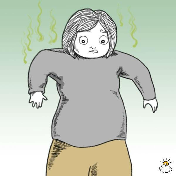 Нарисованная девушка ошарашена изменившимся запахом пота из подмышек