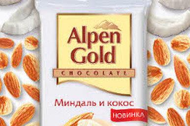 Alpen Gold  —  белый шоколад c миндалем икокосом