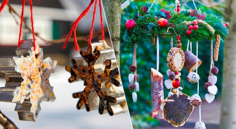 Декорации праздника: как сделать кормушки дляптиц, украшения длясада и«диван» изсугроба