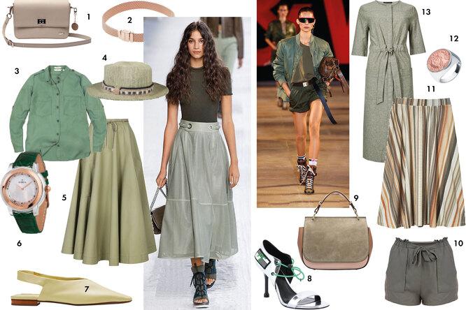 Одежда и обувь в стиле милитари, цвета хаки