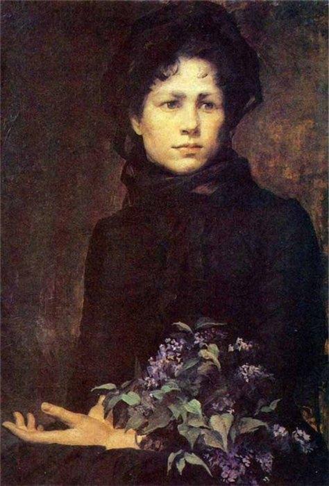 «Молодая женщина сбукетом сирени», 1880