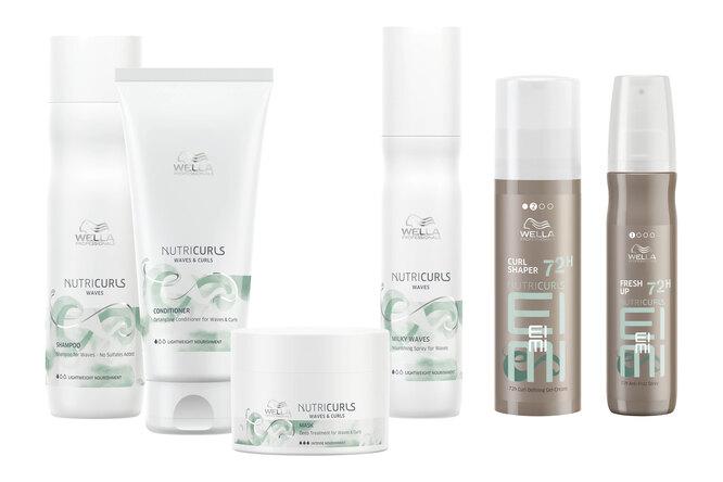 Средства для ухода и стайлинга для кудрявых и вьющихся волос: шампунь, бальзам, маска и несмываемый уход Nutricurls и гель-крем для моделирования и спрей для блеска EIMI Nutricurls, Wella Professionals