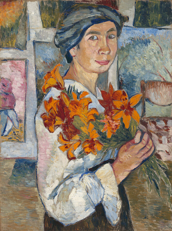 Наталья Гончарова. Автопортрет с жёлтыми лилиями. 1907 год