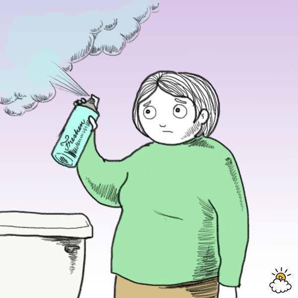 Нарисованная девушка брызгает освежителем воздуха, так как у нее изменения запаха кала