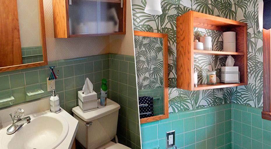 Как новые обои визуально расширили пространство вмаленькой ванной