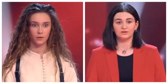 """фото: кадр из шоу """"Голос. Дети"""". Мария Политикова и Кира Гоголадзе"""