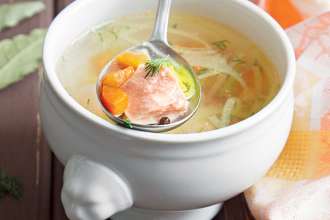 Суп из семги с перцем