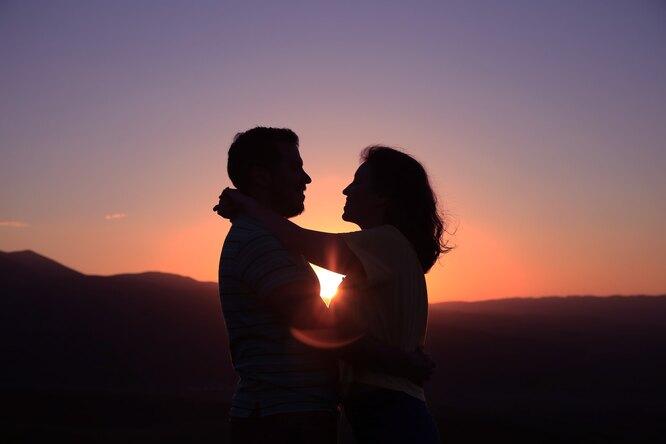 пара, влюбленные, закат, пляж