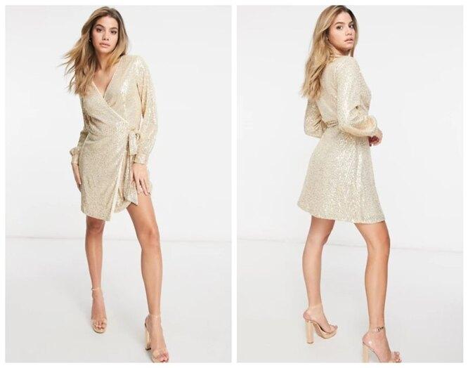Asos, Светло-золотистое мини-платье с запахом и пайетками Chi Chi London, 6290 руб