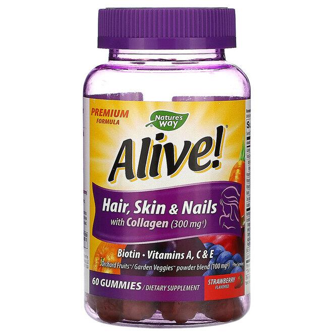Жевательные конфеты для здоровья волос, кожи и ногтей, Nature's Way, Alive, 1016 руб