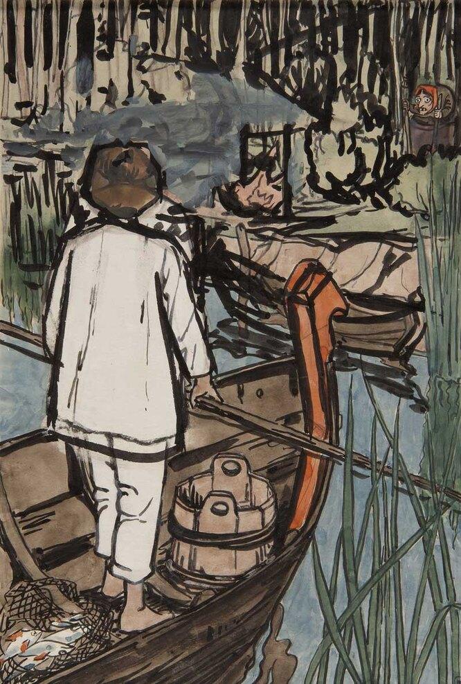 Баба-Яга заманивает Филипко, 1896–1897. Эскиз иллюстрации к сказке «Сынко-Филипко»
