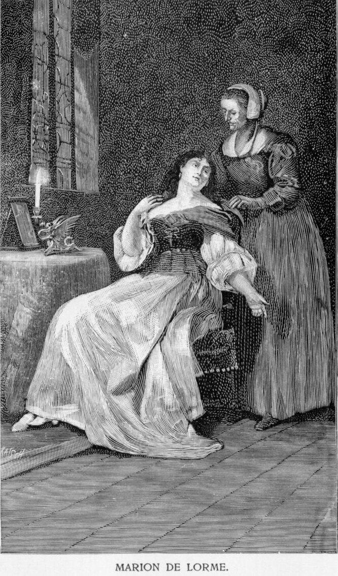 Марион и мадам Роза. Иллюстрация к драме В. Гюго «Марион Делорм»