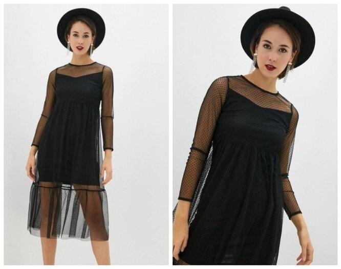 Lamoda, Черное двуслойное платье с прозрачной сеткой Zarina, 2599 руб