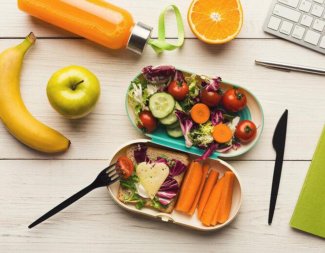 еда, перекус, боксы с едой, полезная еда, банан, овощи
