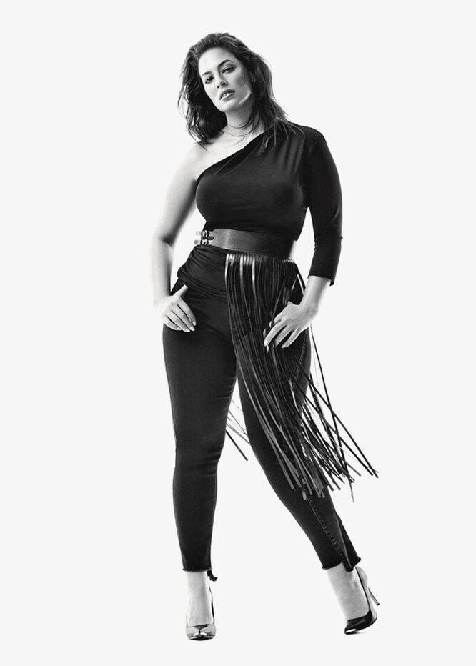 Кадр из рекламной кампании капсульной коллекции денима Эшли Грэм для Marina Rinaldi