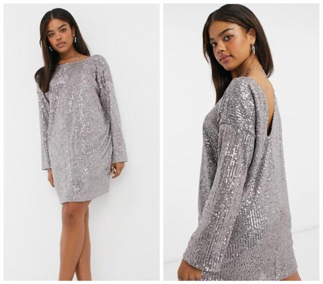 ASOS, Платье-мини с пайетками, длинными рукавами, подплечниками и v-образным вырезом на спине ASOS DESIGN, 3390 руб