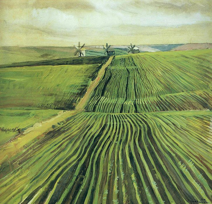 «Зеленя осенью», 1908 г., Государственная Третьяковская галерея