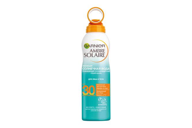 """Освежающий солнцезащитный сухой спрей-вуаль для лица и тела Ambre Solaire """"Солнечная вода"""" SPF 30, Garnier"""