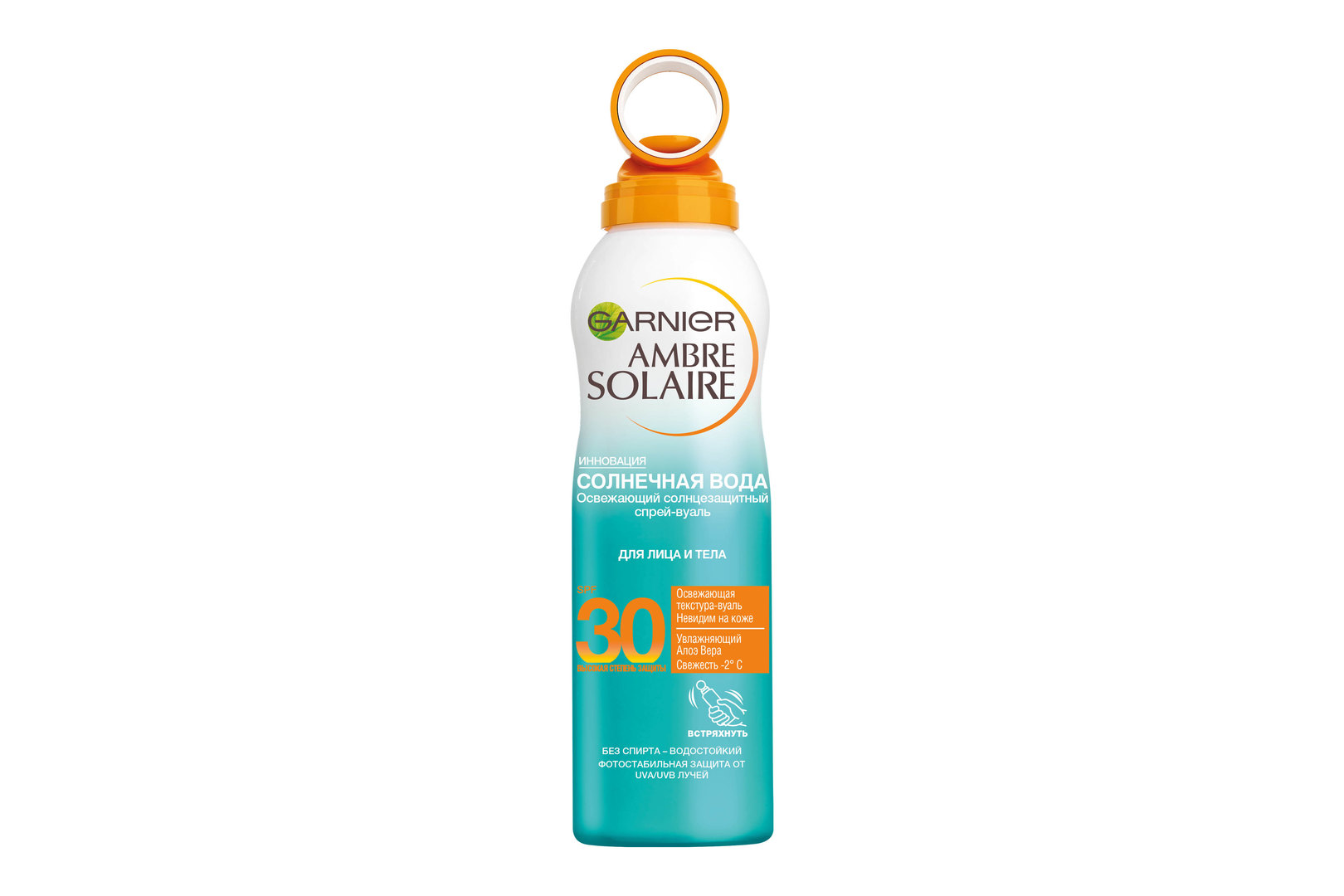 Освежающий солнцезащитный сухой спрей-вуаль длялица итела Ambre Solaire