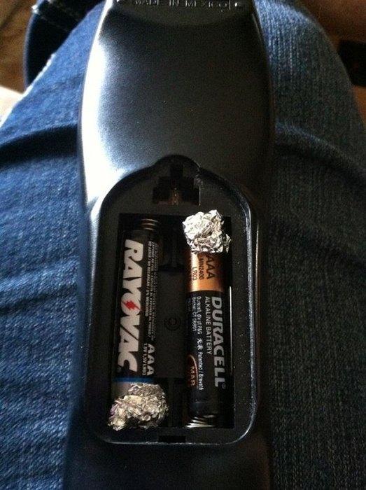 фольга вместо батареек