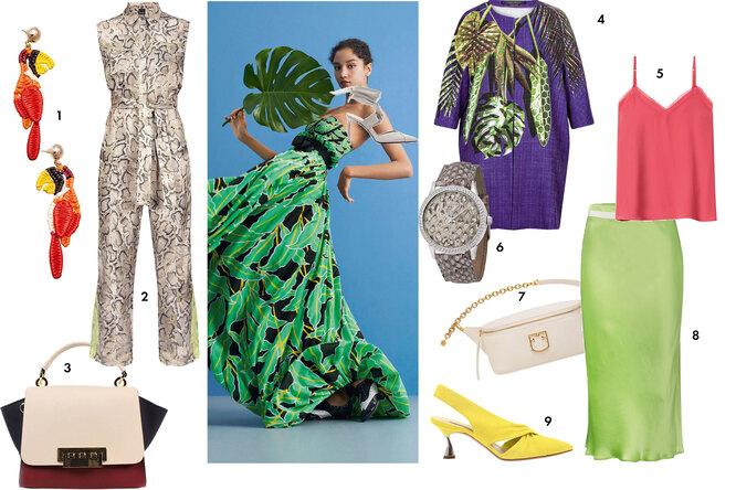 Одежда и обувь с растительными тропическими принтами