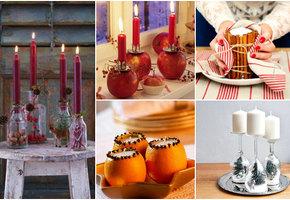 Свечи в бутылках, цветочных горшках и даже в яблоках. Очень красивый декор к Новому году!