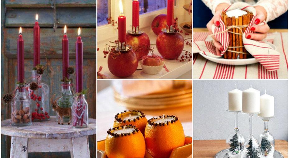 Свечи вбутылках, цветочных горшках идаже вяблоках. Очень красивый декор кНовому году!