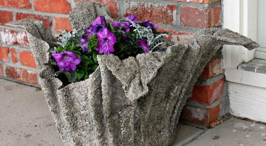 Необычные дачные вазы изцемента иполотенец — ни укого изсоседей таких еще  нет!