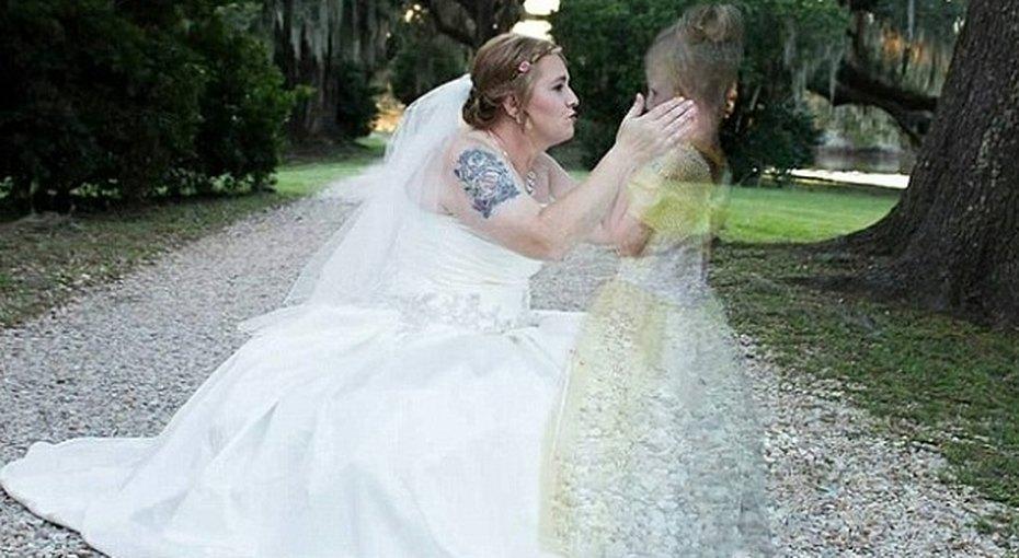 Невеста вмонтировала ссвои свадебные фото изображение дочери, погибшей отрака, ввиде призрака