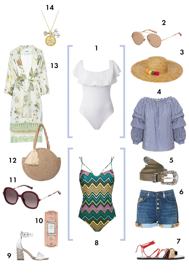 1. Купальник, Calzedonia 2. Очки, Max Mara 3. Шляпа, Marks & Spencer 4. Блуза,