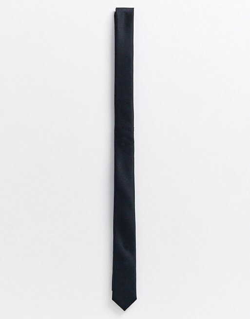 Черный атласный узкий галстук