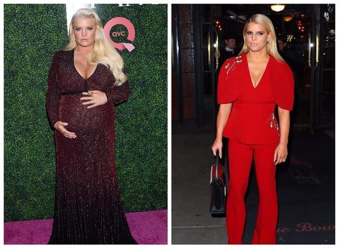 Джессика Симпсон во время третьей беременности и после похудения