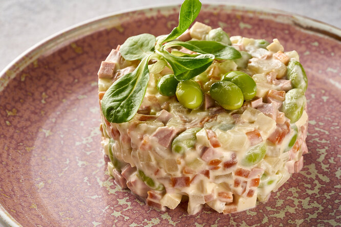 Постный «Оливье» свеганским майонезом иеще 2 рецепта ЗОЖ-салатов