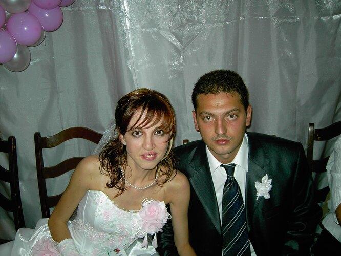Елена Соколова с мужем на свадьбе
