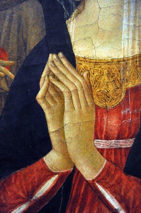 Фрагмент картины Франческо ди Джорджо Мартини, « Мадонна смладенцем, св. Иеронимом, св. Антонием Падуанским идвумя ангелами», 1469-72