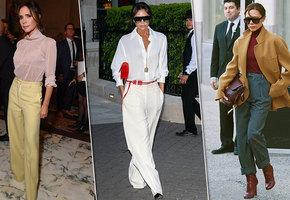 Учимся у Виктории Бекхэм, как носить широкие брюки и выглядеть стильно