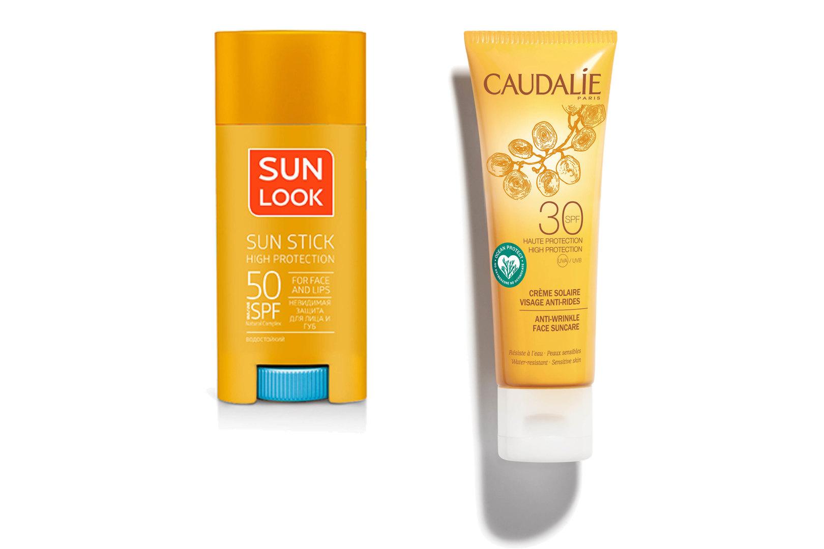 Солнцезащитный стик длялица игуб SPF 50, Sun Look; Солнцезащитный крем длялица против морщин SPF 30, Caudalie