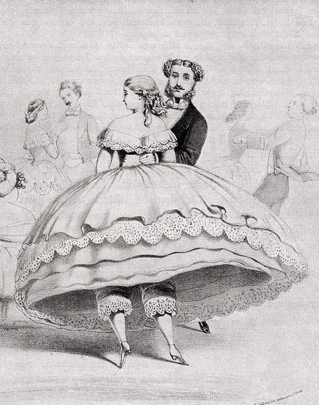 рисунок женщины и мужчины во время танца