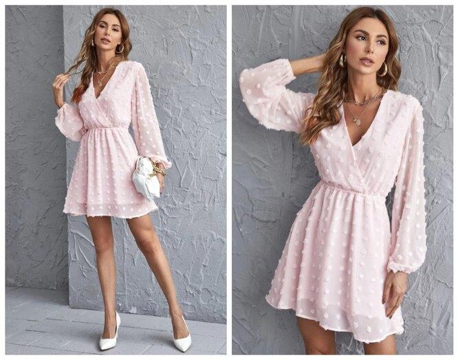 Shein, Нежно-розовое приталенное мини-платье с запахом, 1290 руб