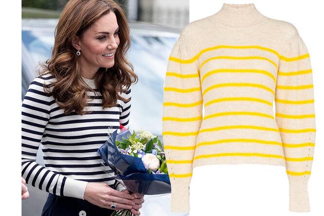 Вдохновляемся герцогиней: самые модные инедорогие свитера-тельняшки