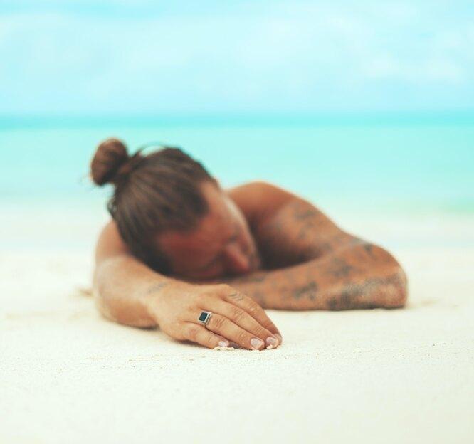спящий, пляж, песок, сон